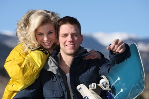 snowboard couple at Lake Louise