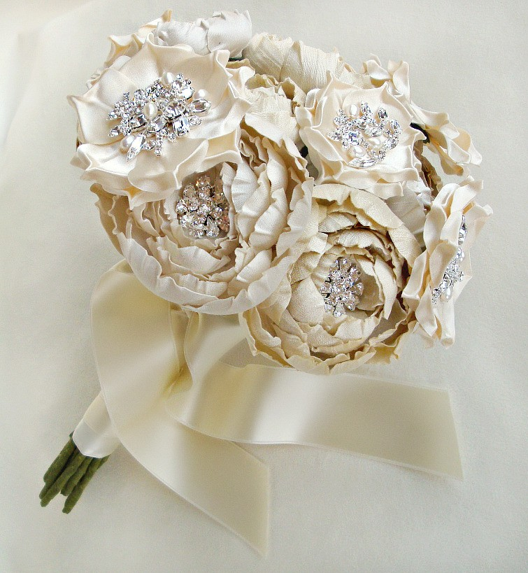 emci bridal silk and crystal bouquet