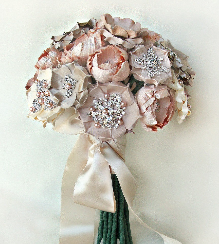 emici bridal silk and crystal bouquet