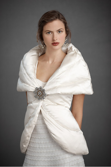 Bundle up it 39 s cold outside what to wear to a winter for Winter shawls for wedding dresses