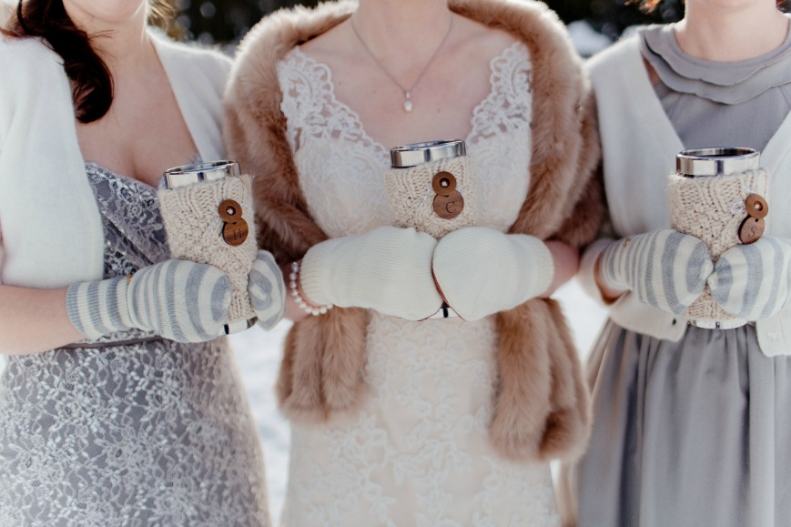 winter wedding and custom coffee cups by Naturally Chic
