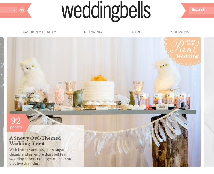Snowy Owl Themed Wedding Shoot featured in Wedding Bells by Naturally Chic | www.naturallychic.ca