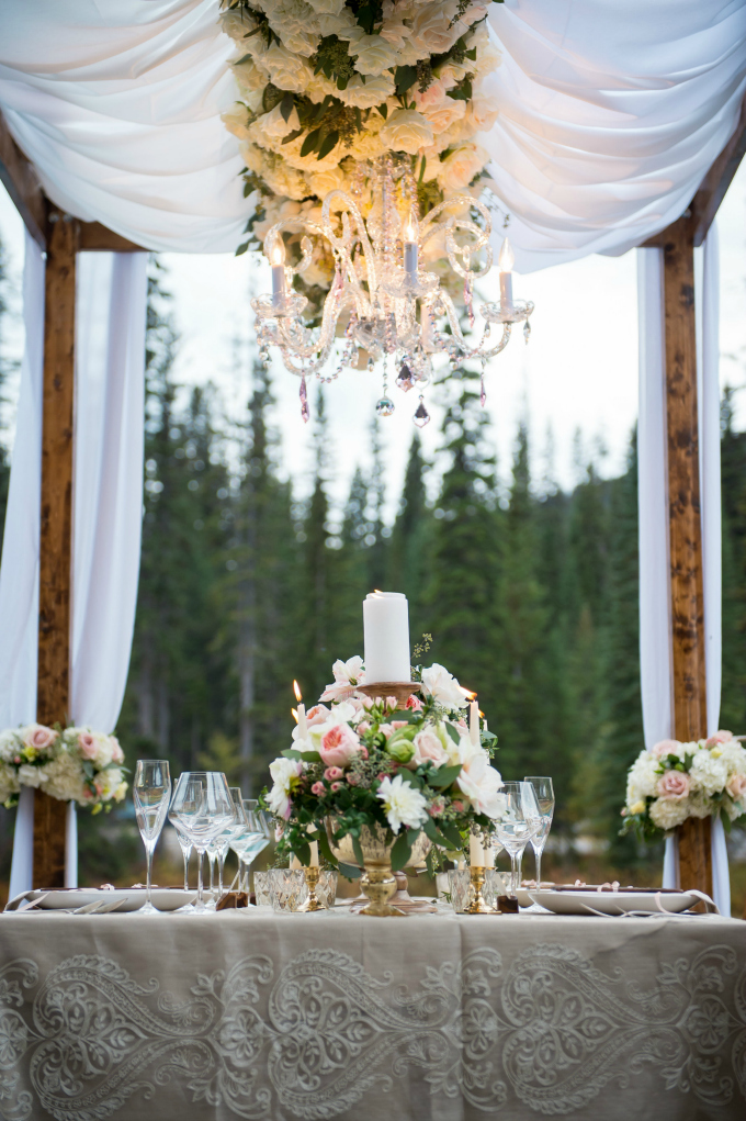 wedding-chandelier-flowers | www.naturallychic.ca | Photo by f8 Photography Inc.