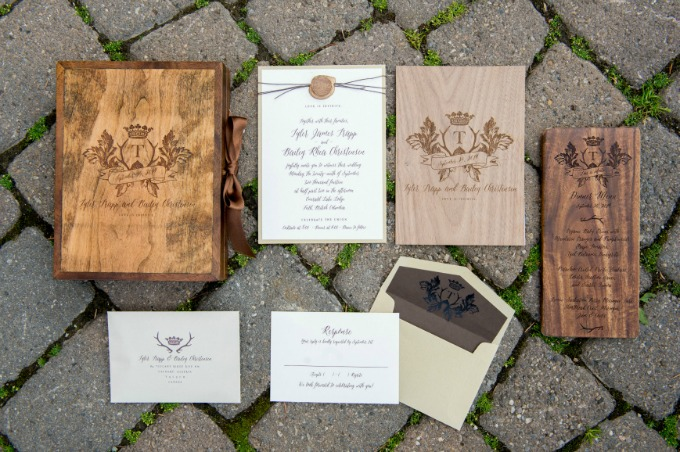 engraved-wood-wedding-invitation by Naturally Chic + Plush Invitations | photo by f8 Photography Inc.