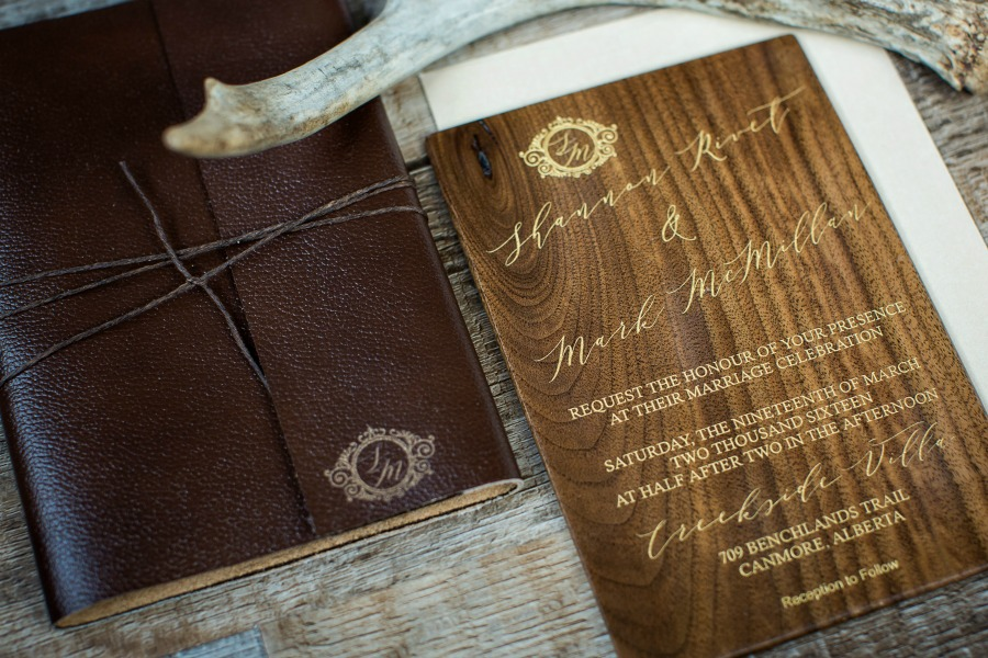 100 days of details, Handcrafted, wood engraved wedding invitation and leather folio by Naturally Chic | www.naturallychic.ca